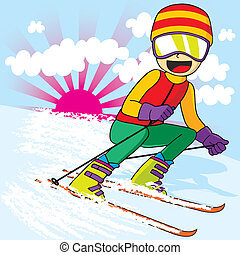Teen Skiing Fast - Teen skier with colorful sports clothing...