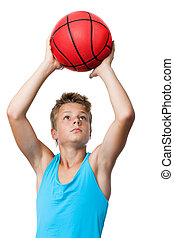teen sportsman holding basketball. - Portrait of teen...