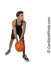 Teen sportsman with sportswear playing basketball. White...