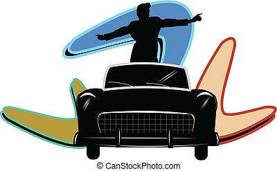 teen standing in car