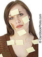 Teen Sticky Notes - Young teen girl with blank yellow sticky...