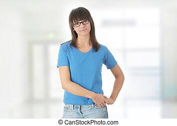 Teen student girl in glasses