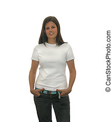 teen t shirt - cute teen girl in a blank white t shirt