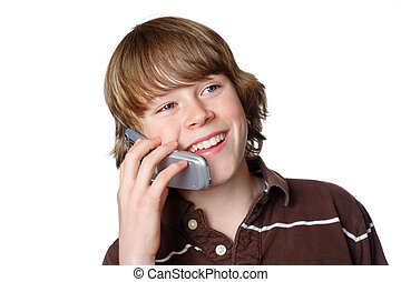 A young teen is happy with his first cell phone