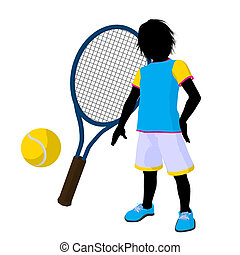 Teen Tennis Player Illustration - Teen tennis player with a...