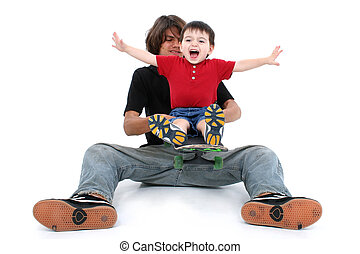 Teen Toddler Boy - Teen Boy and Toddler Boy Playing Together...