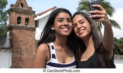 Teen Tourists Taking Selfie at Church