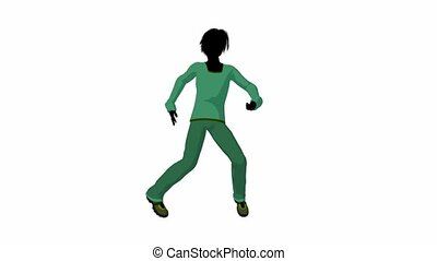 Teen Urban Male Dancing - Teen urban male dressed in casual...