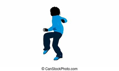 Teen urban male dressed in casual clothes dancing on a white background
