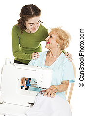 Teen Watches Grandma Sew