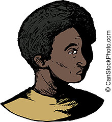 Teen with Blank Stare - Cartoon of single Black youth with...
