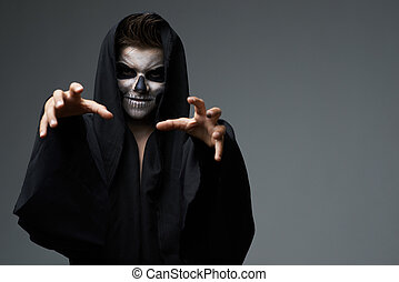 Teen with makeup skull cape wants grab - Teen with makeup...