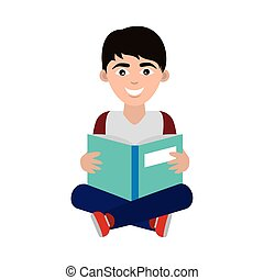 teen with open book sitting reading home education flat ...