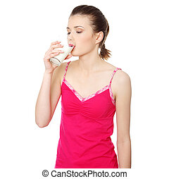 Teen woman drinking water