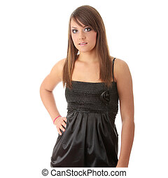 Teen woman in black elegant dress