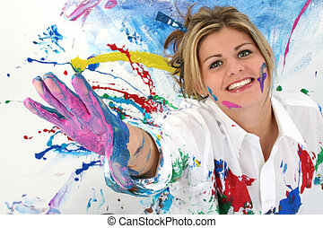 Teen Woman Painting - Beautiful Young Woman Covered in Paint...