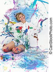 Teen Woman Painting