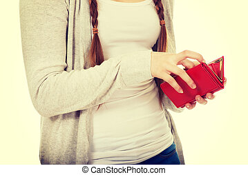 Teen woman with a wallet.