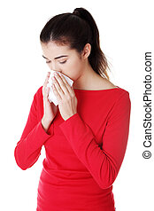 Teen woman with allergy or cold