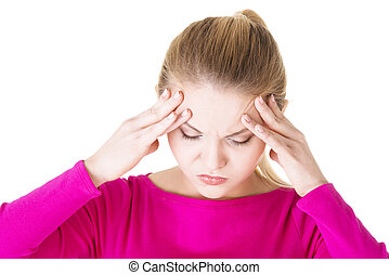 Teen woman with headache