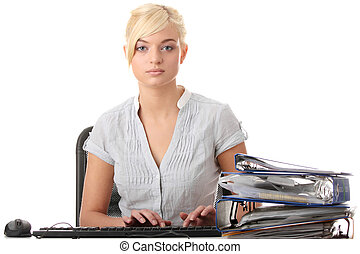 Teen woman working with computer