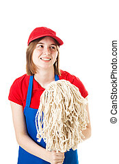 Teen Worker in Uniform with Mop