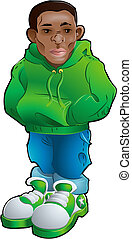 Vector illustration of a teenager, part of the gangsta clique or tribe