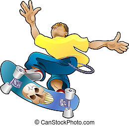 Teen Youth Cliques Skater - Vector illustration of a...