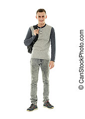 teenage, biały, plecak, student