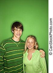 Teenage boy and girl.