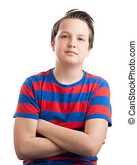 Waist up portrait of a teenaged (13 years old) Caucasian boy, isolated on white background.