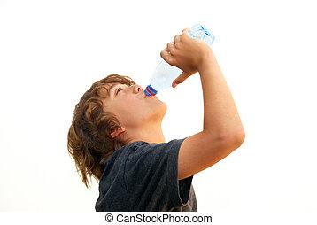 Teenage Boy Drinking Water