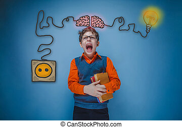 Teenage boy holding a book and shouting his mouth agape charging cord plug wire igniter charge and sketch infographics