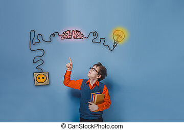 Teenage boy in glasses holding books showing thumb up charging cord plug wire igniter charge and sketch infographics