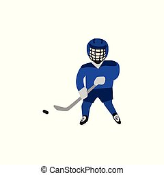 Teenage boy in helmet and uniform playing hockey