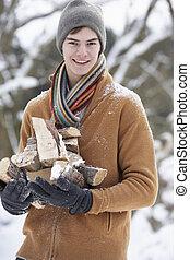 Teenage Boy In Snowy Landscape Carrying Logs