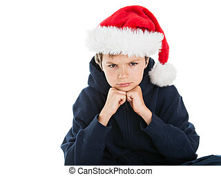 Teenage Boy in suit with Christmas hat