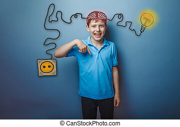 Teenage boy laughing and showing his finger down the charging cord plug wire igniter charge and sketch infographics
