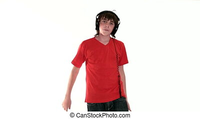 Teenage boy listening music