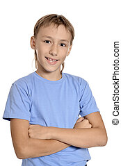 Teenage boy on a white background