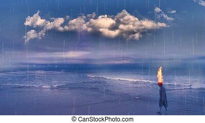Teenage Boy on Ocean Shore - Teenage Boy with burning head ...