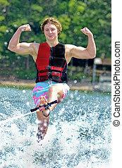 Teenage Boy on Trick Ski