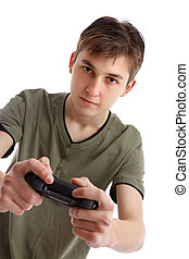 Teenage boy playing video game - A teenage boy holding a...