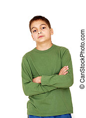 Teenage boy with crossed arms over white