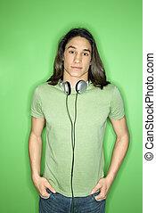 Teenage boy with headphones.