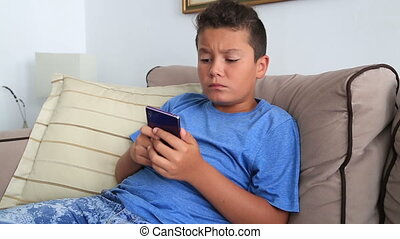 Teenage boy with smartphone