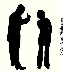 teenage, córka, ojciec, czupurny, między, konflikt