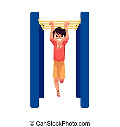 Teenage Caucasian boy climbing, hanging on monkey bars at playground