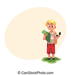 Teenage Caucasian boy with a backpack studying map, holding compass