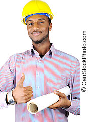 Teenage construction worker with plans and thumbs up
